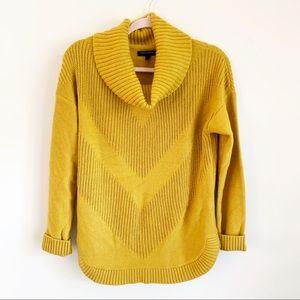 Banana Republic Mustard Knit Cowl Neck Sweater M